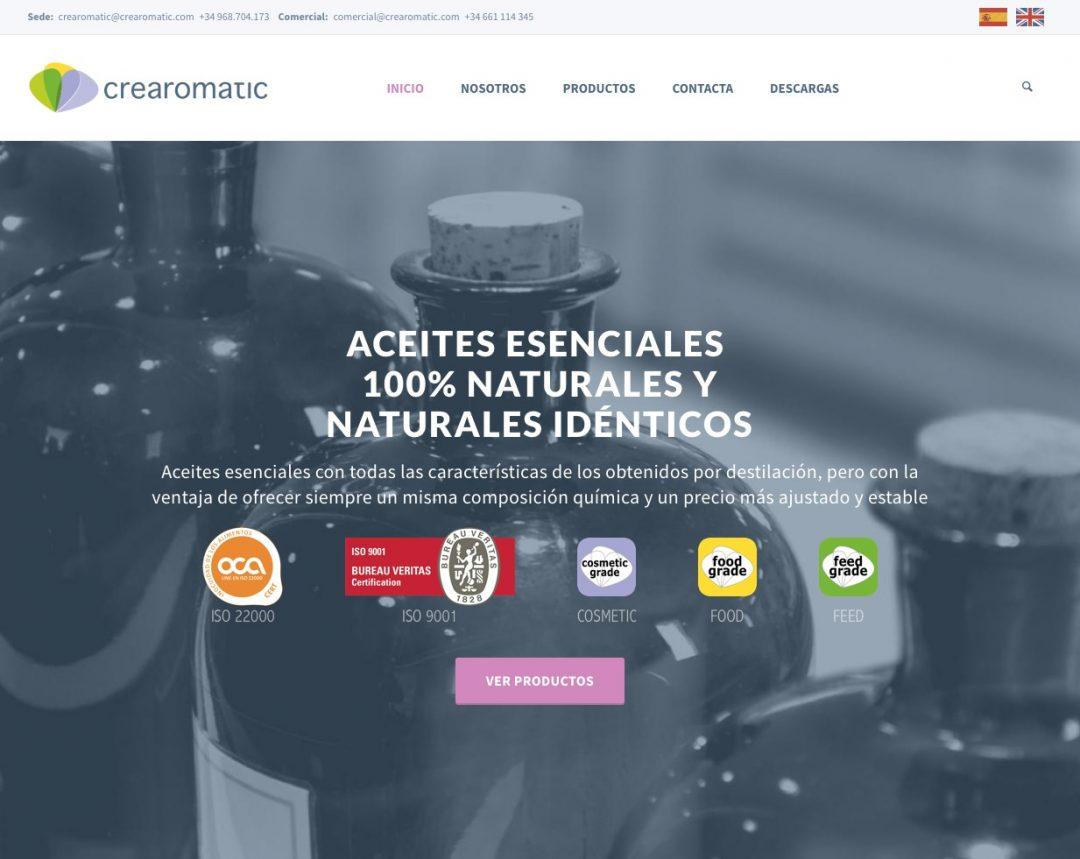 Diseño web de crearomatic.com documentación técnica de productos